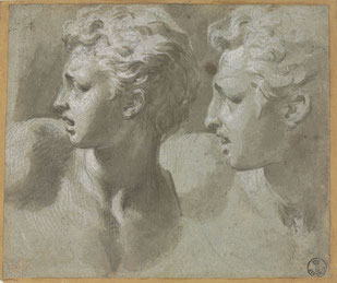 Parmigianino, Due teste di profilo  Firenze, Gabinetto Disegni e Stampe degli Uffizi, inv. 743 F