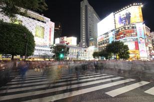 Shibuya Crossing, Strassenkreuzung, Shibuya, Tokio, Japan, Nacht