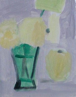 ガーベラとリンゴ(0号油彩描画中)