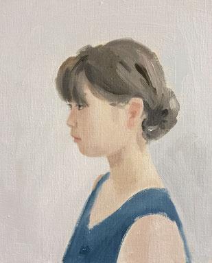 横顔(描画中)3号 油彩