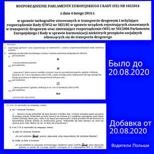 Распоряжение о тахографах 165/2014