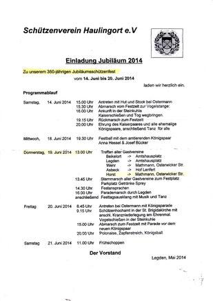 Einladung 350-jähriges Jubiläum Haulingort (zum Vergrössern bitte klicken)