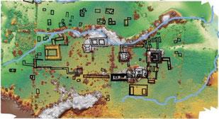 Un mapa del lugar de excavación. La estructura en forma de herradura a la izquierda es el área del palacio. En el extremo derecho, en el centro, se encuentra la Plaza de los Monumentos