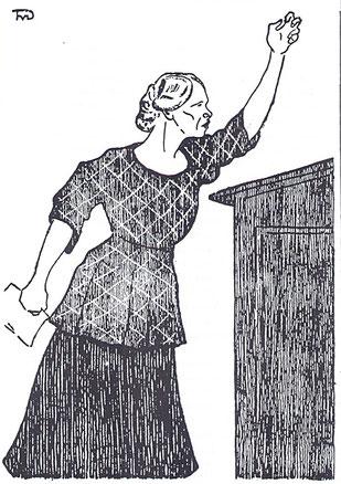 Karikatur der Politikerin henriette Ackermann