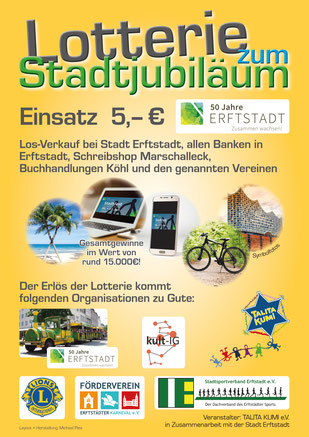 Große Lotterie zum Stadtjubiläum | 50 Jahre Stadt Erftstadt