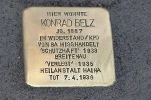 Stolperstein für Konrad Belz gestorben  1935 in Haina