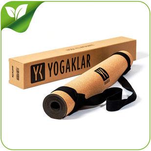 Premium Yogamatte aus Naturkautschuk und Kork, inklusive Tragegurt – rutschfest, hautfreundlich, pflegeleicht, 100% natürlich und umweltfreundlich – Startklar für Yoga! YOGAKLAR