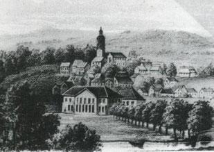 Moritzberg, im Vordergrund Hildesheimer Schützenhaus, Lithografie um 1860