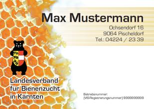 Bienenstandtafeln sind über Sammelbestellung beim Landesverband erhältlich (Format A5 quer, Stärke 2 mm, Alu-Compound