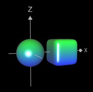 Implizite Fläche mit 2 Objekten