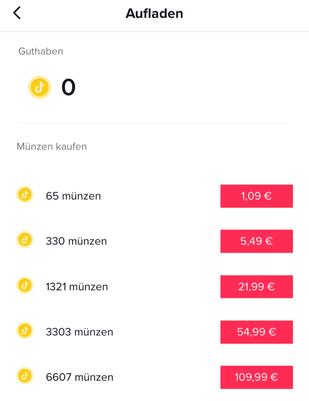 Zahlungsmodell TikTok