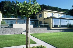 Moderner Neubau, Grosszügig, Mauer, Rasenfläche
