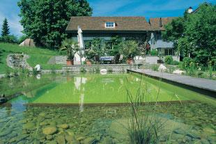 Schwimmteich, Wasserlauf, Holzsteg, Sitzplatz am Wasser