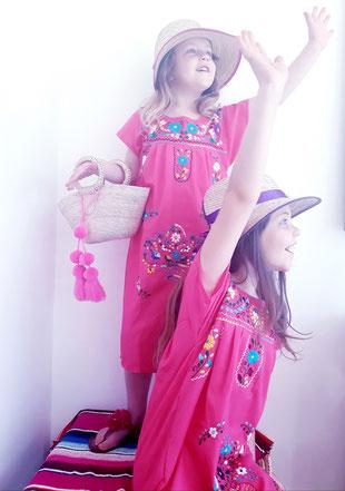 Mexikanische Bluse, Damenbluse, Tunika, Kleid, Sommerkleid, Kindermode, Blumenstickerei