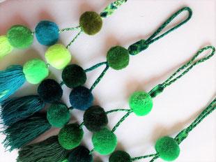 Bommel grün, pom pom, Deko, Home Decor Mexiko, Taschenanhänger, Schlüsselanhänger grün