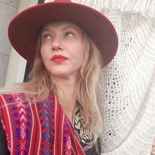Damenhut rot aus Mexiko, Hut, Mütze