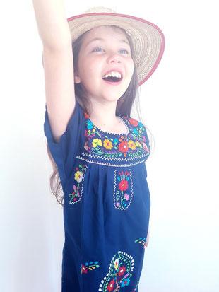 Mexikanische Bluse, Damenbluse, Tunika, Kinder-Kleid, Sommerkleid, Kindermode, Blumenstickerei