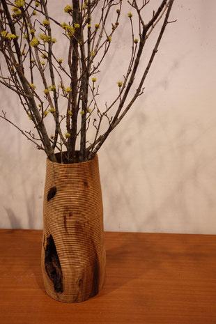 「おおつちの育み」 花入れ φ150×340 木工芸 クリ