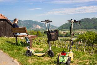 Ausblick über die Weinberge in der Region Wachau. Erlebnis der Ausflugsziele mit E-Scooter die Fahrrad Verleih Alternative.