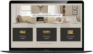 Website der Polstermanufaktur Gelz in Trierweiler und Saarbrücken, sichtbar in Laptopmonitor