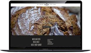 Website der Bäckerei Schäfer in Illingen, sichtbar in Laptopmonitor