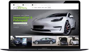 Website evrent-trier.de Tesla Vermietung sichtbar in Laptopmonitor