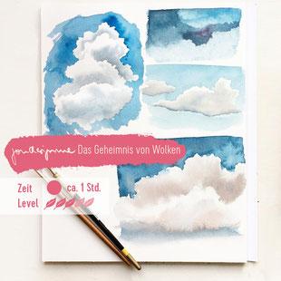Aquarell, Blau, Farbenlehre, Ultramarin, Heliocoelin, Coelinblau, Wolken malen, Aquarell Himmel malen