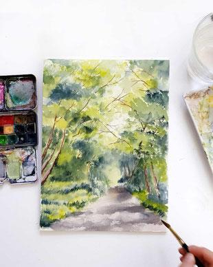 lanschaftsaquarell, plein air malerei, nature sketching, online malen lernen, urban sketching, malkurs, malen lernen, aquarell, landschaftsaquarell