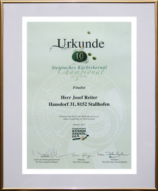 Teilnahme am Kürbiskernöl-Championat