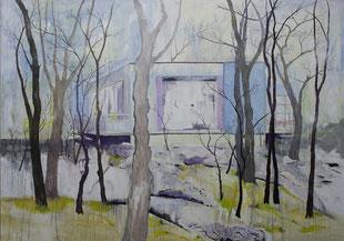 Eissturm, Haus, 2009, Öl auf Leinwand, 150 x 190 cm