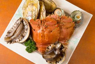 長崎産の魚介  うちわ海老、鮑、さざえ