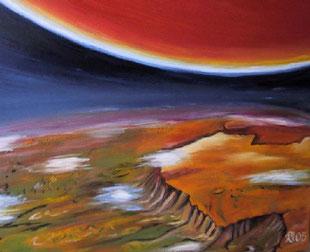 Zukunft der Erde, Öl/ 100 cm x 100 cm/Leinwand