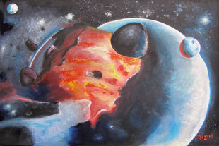 Weltuntergang, Öl / 120cm x 80 cm / Leinwand