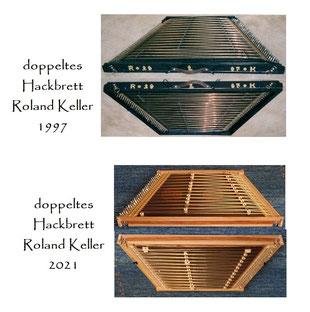 doppeltes Hackbrett Roland Keller 1997. doppeltes Hackbrett aus dem Kanton Luzern 19. Jahrhundert. Roland Keller verfügt über ein reiches Solorepertoire an originalen Hackbrett-Stücken, Eigenkompositionen und eigenen Arrangements.
