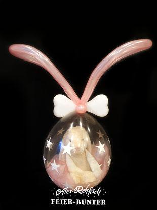 S 011 - Geschenkballon Hase, gefüllt mit eurem Geschenk (muss durch eine runde Öffnung mit einem Durchmesser von 12cm passen), Ballons, Seidenpapier und Konfetti ( Stofftier nicht enthalten) - 19,90€