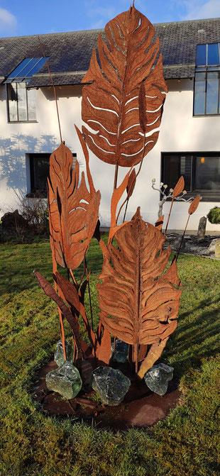 sculpture d'extérieur - feuillage en acier corten - modèle XXL