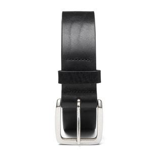 schmaler, weicher Damengürtel in schwarz mit silberfarbener Schließe