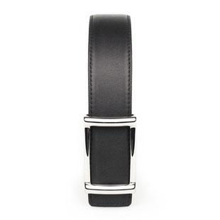 eleganter Damengürtel aus Kalbleder in schwarz mit silberfarbener Schnalle
