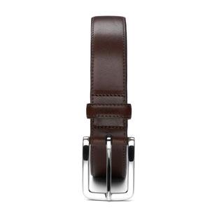 Herren Anzug Ledergürtel in schwarz mit Schnalle in silber