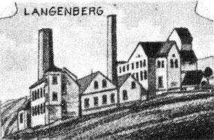 Zeichnung der Grube Langenberg 1880 auf einer Postkarte - Quelle: Aretz-Bergwerke