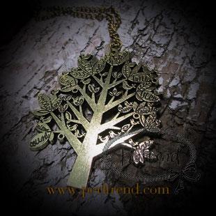 Halskette Goldfarben Anhänger Baum www.perltrend.com