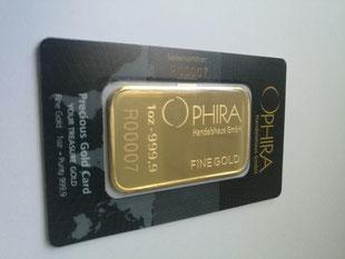 OPHIRA Goldbarren eine Feinunze