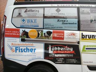 Beifahrerseite Ford Transit mit Hof-Felix Beklebung - für den guten Zweck Samtgemeinde Schwaförden