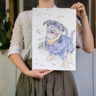 Vrouw houdt tekening van een hond vast op A3 formaat.