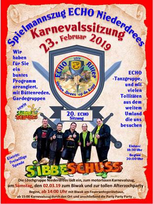 Echo Karneval beim Spielmannszug Niederdrees 2019 Plakat