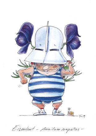 """Der Pflanzenname """"Eisenhut"""" wörtlich genommen. Ein kleiner kräftiger Mann mit blau-weiß gestreiftem Ringeranzug und Eisenhut, aus dem Eisenhut wächst."""