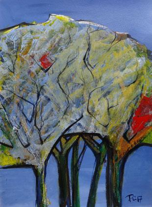 Eine Baumgruppe, abstakt, vor bläulichen Hintergrund, mit rotem Schimmer in den Zweigen.