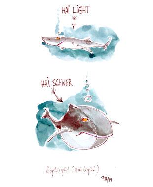 Wortspielerei. Highlight ist gleich Hai light, also ein leichter Hai. Der Gegensatz ist Hai schwer. Ein dicker Hai eben ... ;)