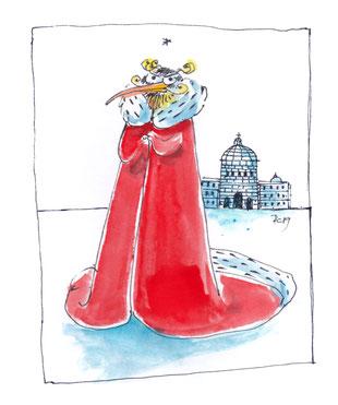 Ein pinguinähnliches Wesen steht in rotem Mantel mit Hermelinbesatz vor dem Berliner Schloss aus Eis.