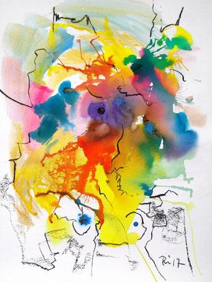 Abstraktes Werk in gelb, rot, türkis, blau und Kohlezeichnung.
